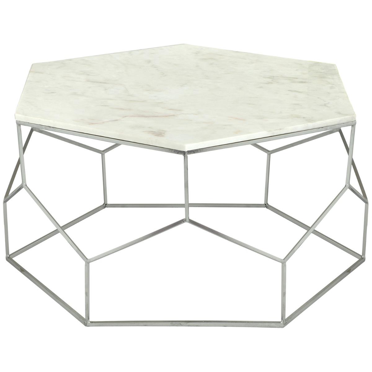 Table basse Oracle Marbre et pieds Nickel