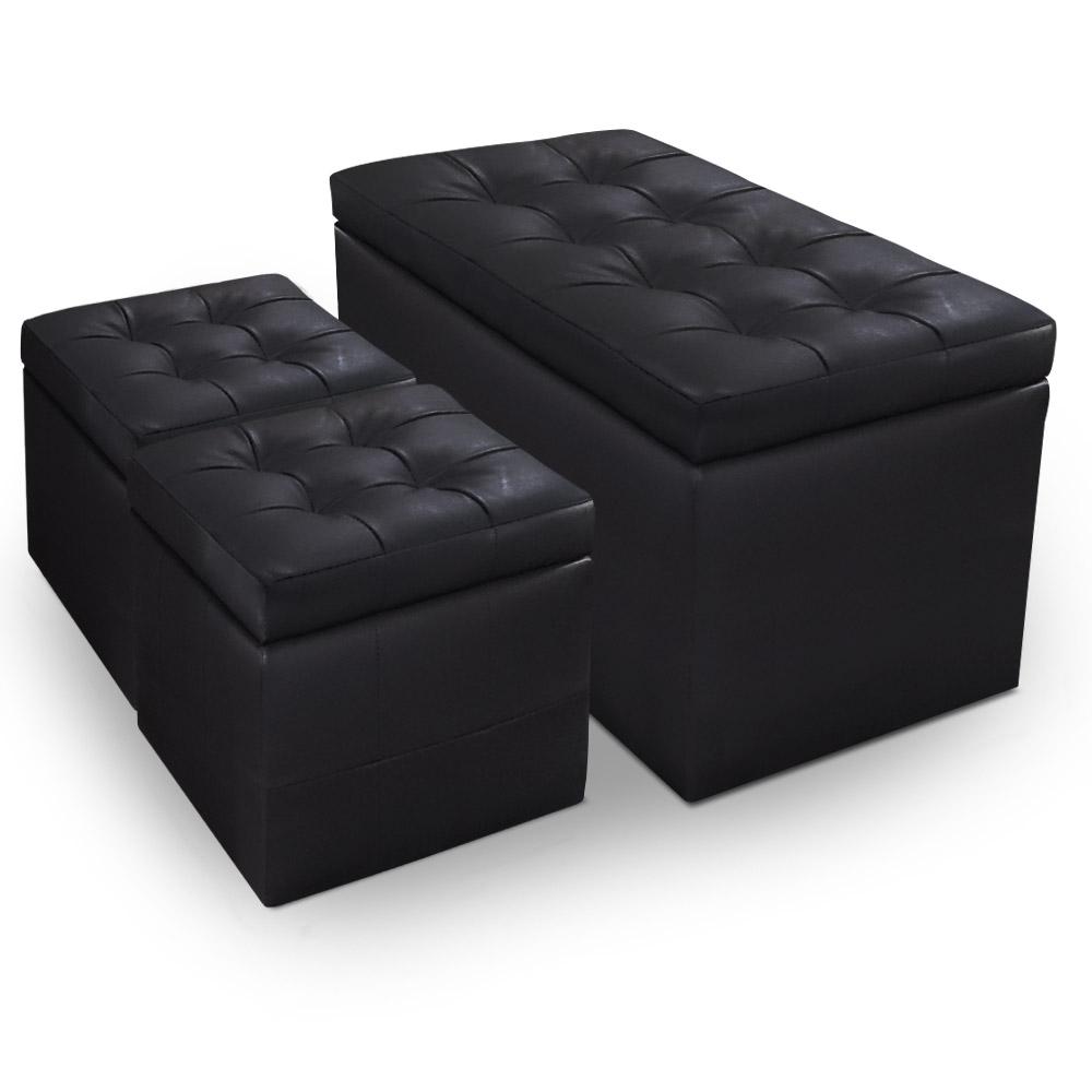 Banquette-Coffre Panky et ses 2 poufs-coffres noirs assortis