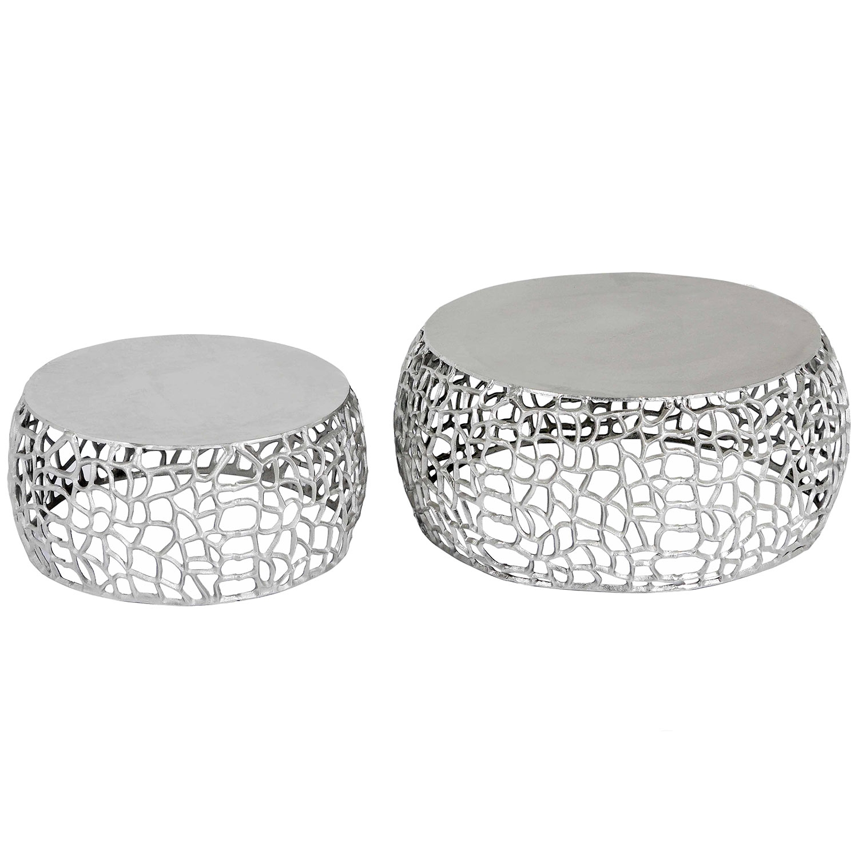 Lot de 2 tables basses Panama Nickel