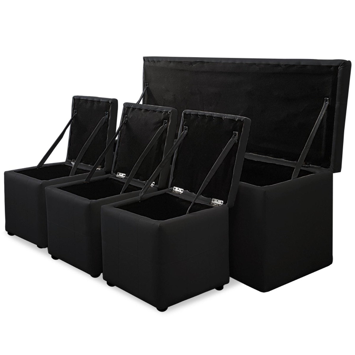 Banc Coffre Panky XL + 3 poufs Noir