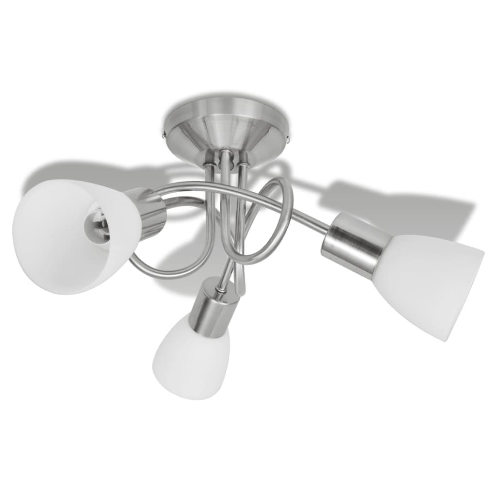 Plafonnier 3 lumières avec abat-jours en verre Dopulax Blanc