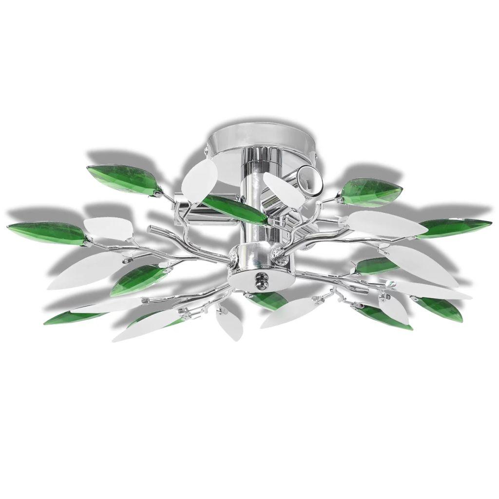 Plafonnier 3 lumières Melusine Vert et Blanc