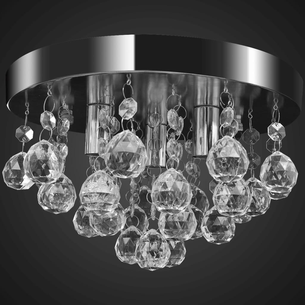 Plafonnier 3 lumières Roseane Cristal et Métal Argent