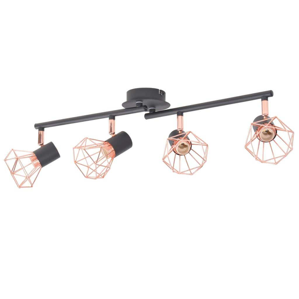 Plafonnier 4 lumières Yumbarra Noir et cuivre