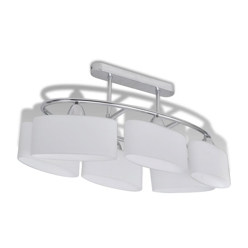 Plafonnier 6 lumières Ioko Verre Blanc et Métal Chrome