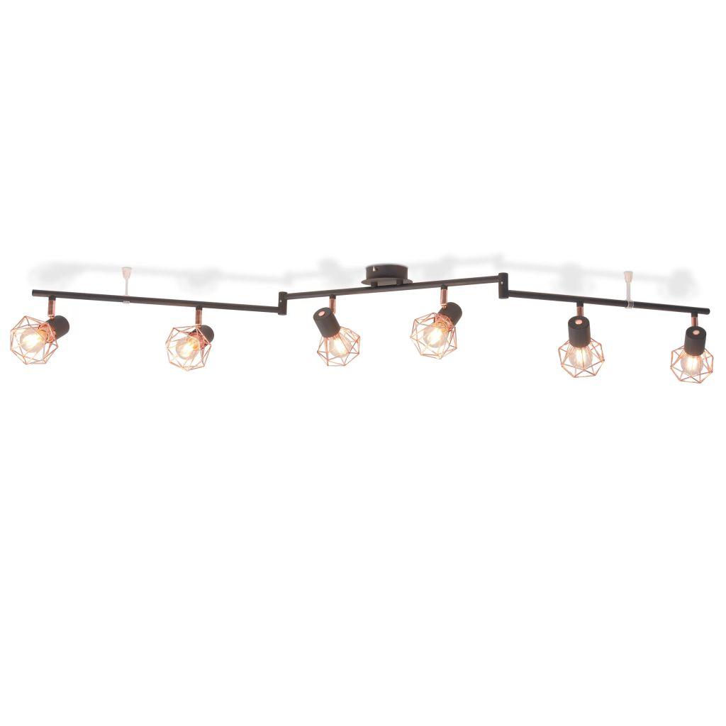 Plafonnier 6 lumières Yumbarra Noir et Cuivre