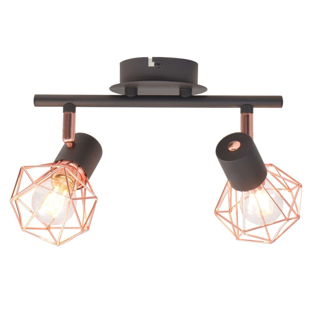 Plafonnier avec 2 projecteurs E14 Yumbarra Noir et cuivre