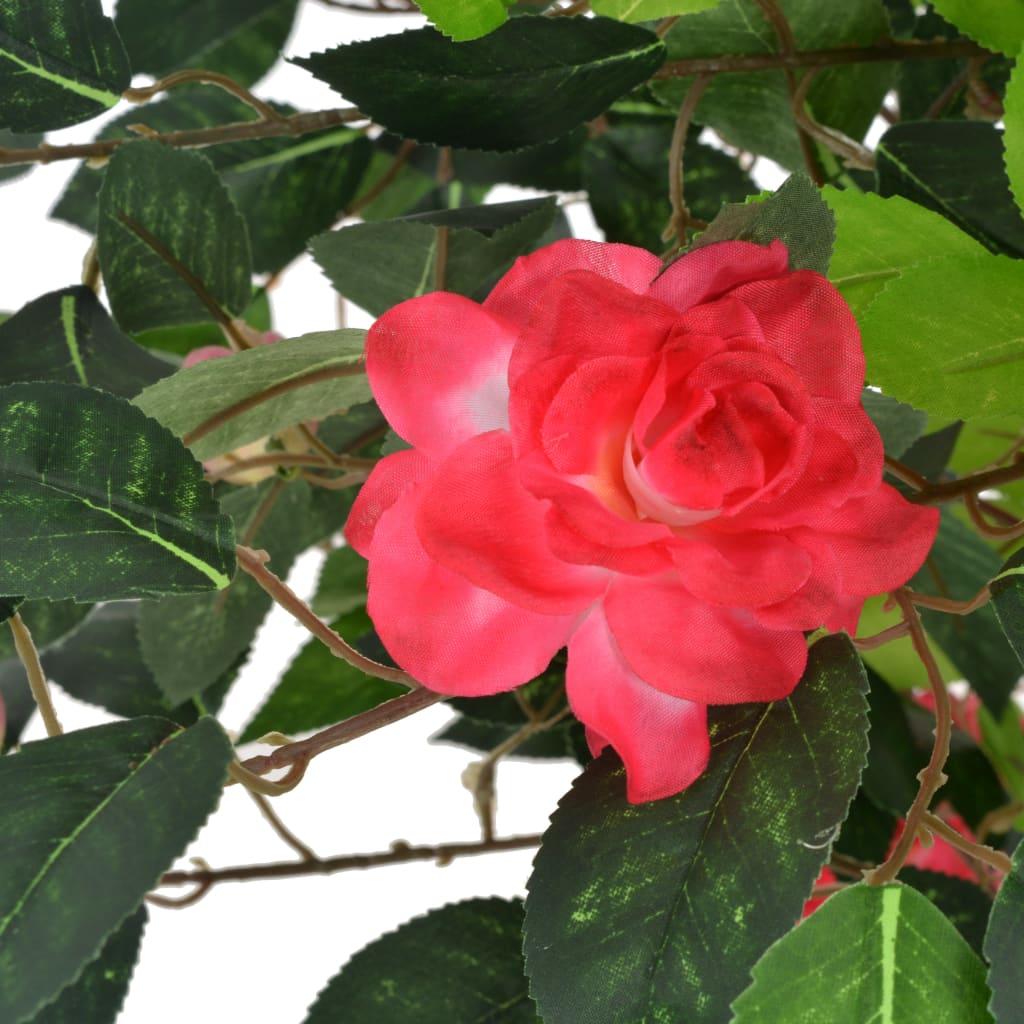 Plante artificielle Camélia 125cm Rouge et Marron