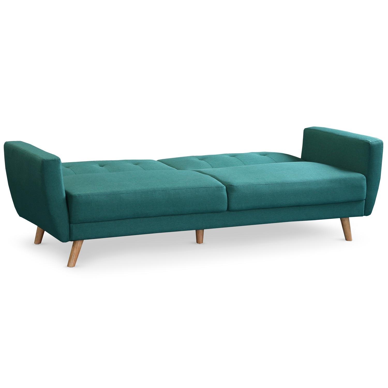 Canapé convertible clic-clac scandinave Refresha Tissu Bleu vert