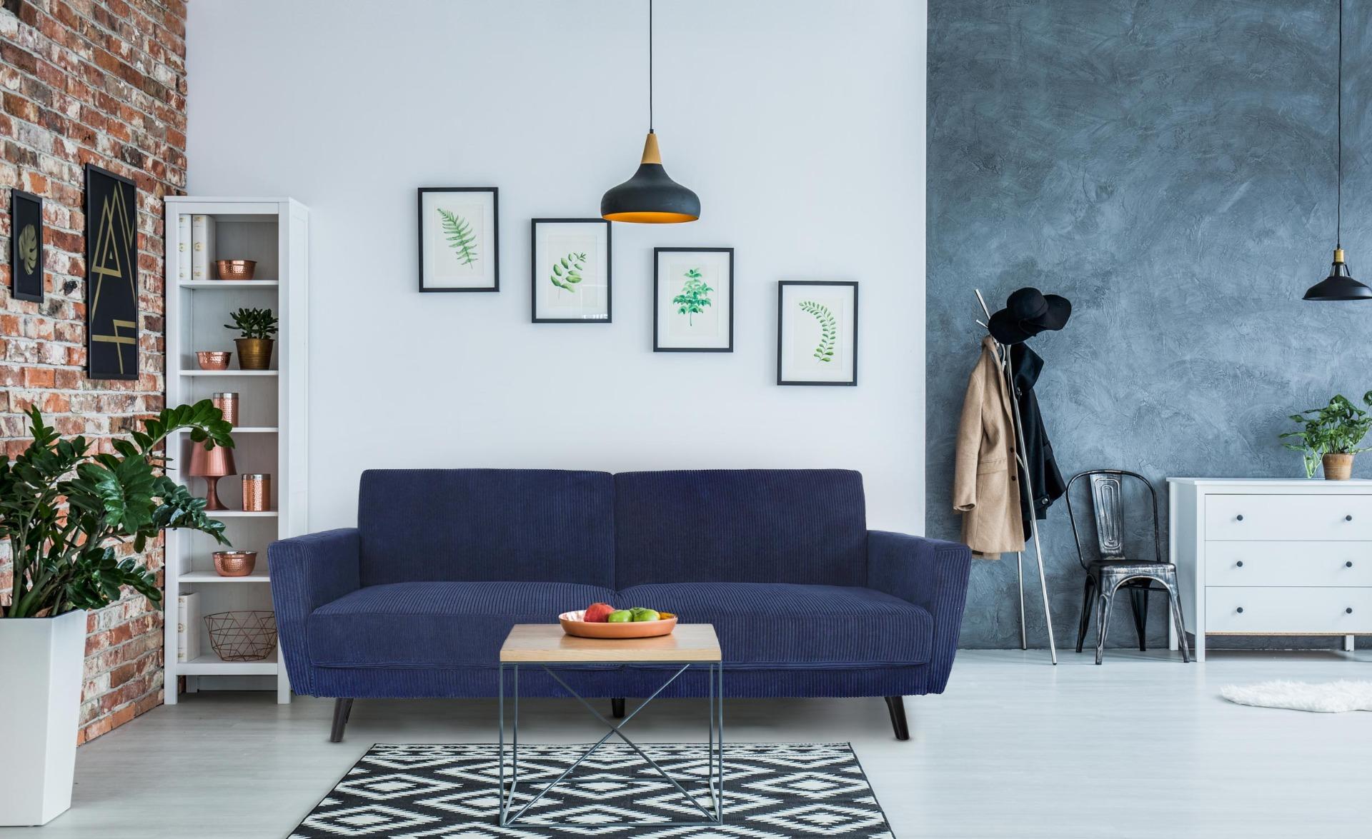 Canapé convertible clic-clac Refresha Velours Bleu