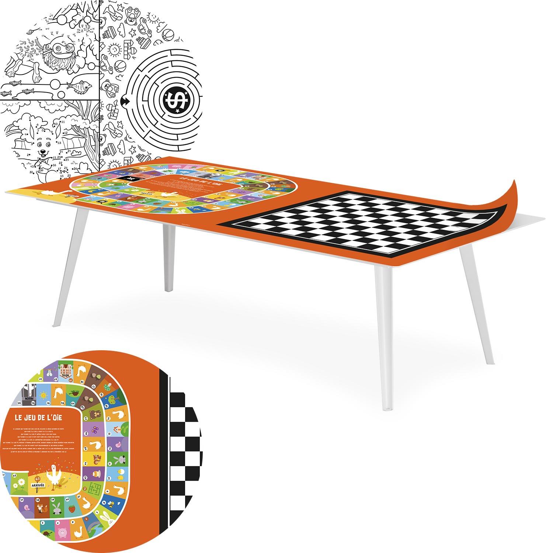 Table basse magnétique rectangulaire 120x60cm Bipolart Métal Blanc avec 2 Tops style Jeux