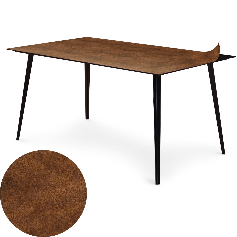 Table magnétique rectangulaire 150x90cm Bipolart Métal Noir avec 1 Top Effet Cuir