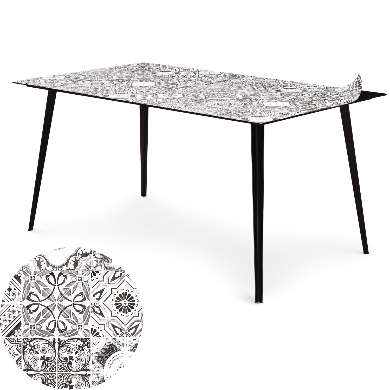 Table magnétique rectangulaire 150x90cm Bipolart Métal Noir avec 1 Top Carreaux de ciment vintage