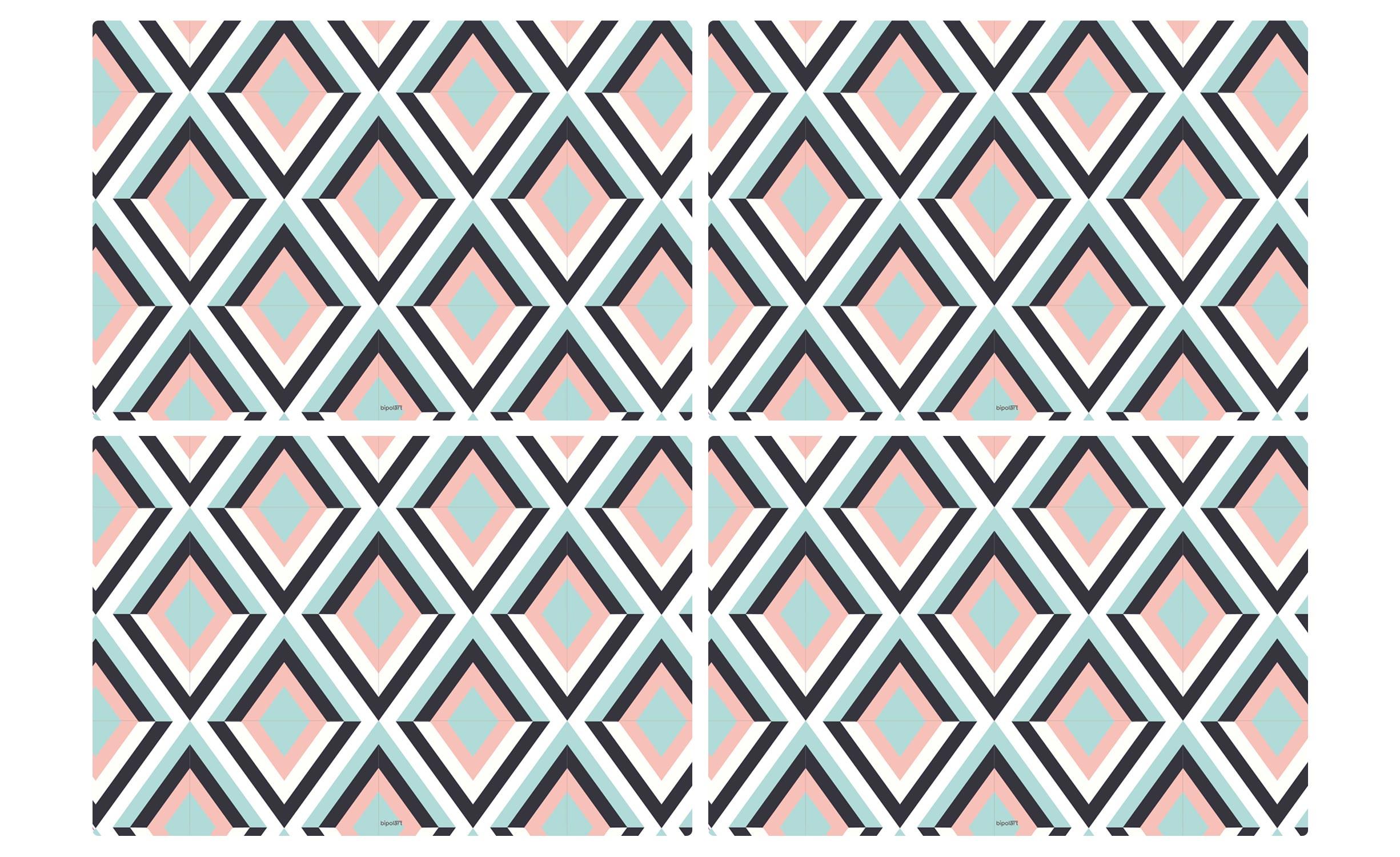 Table magnétique rectangulaire 150x90cm Bipolart Métal Noir avec 4 Sets de table Losanges