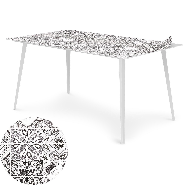 Table magnétique rectangulaire 150x90cm Bipolart Métal Blanc avec 1 Top Carreaux de ciment vintage