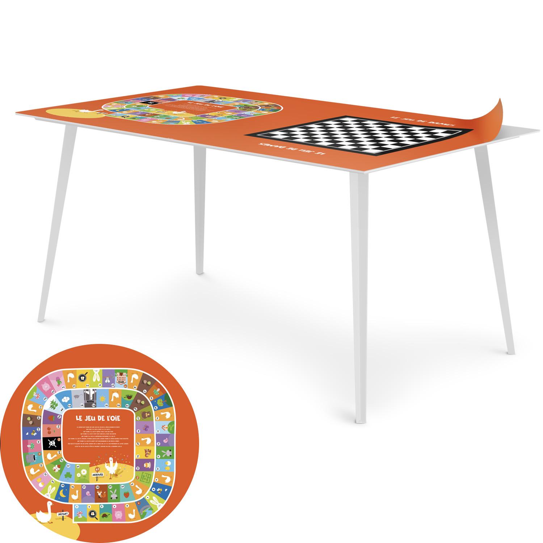 Table magnétique rectangulaire 150x90cm Bipolart Métal Blanc avec 1 Top Jeux