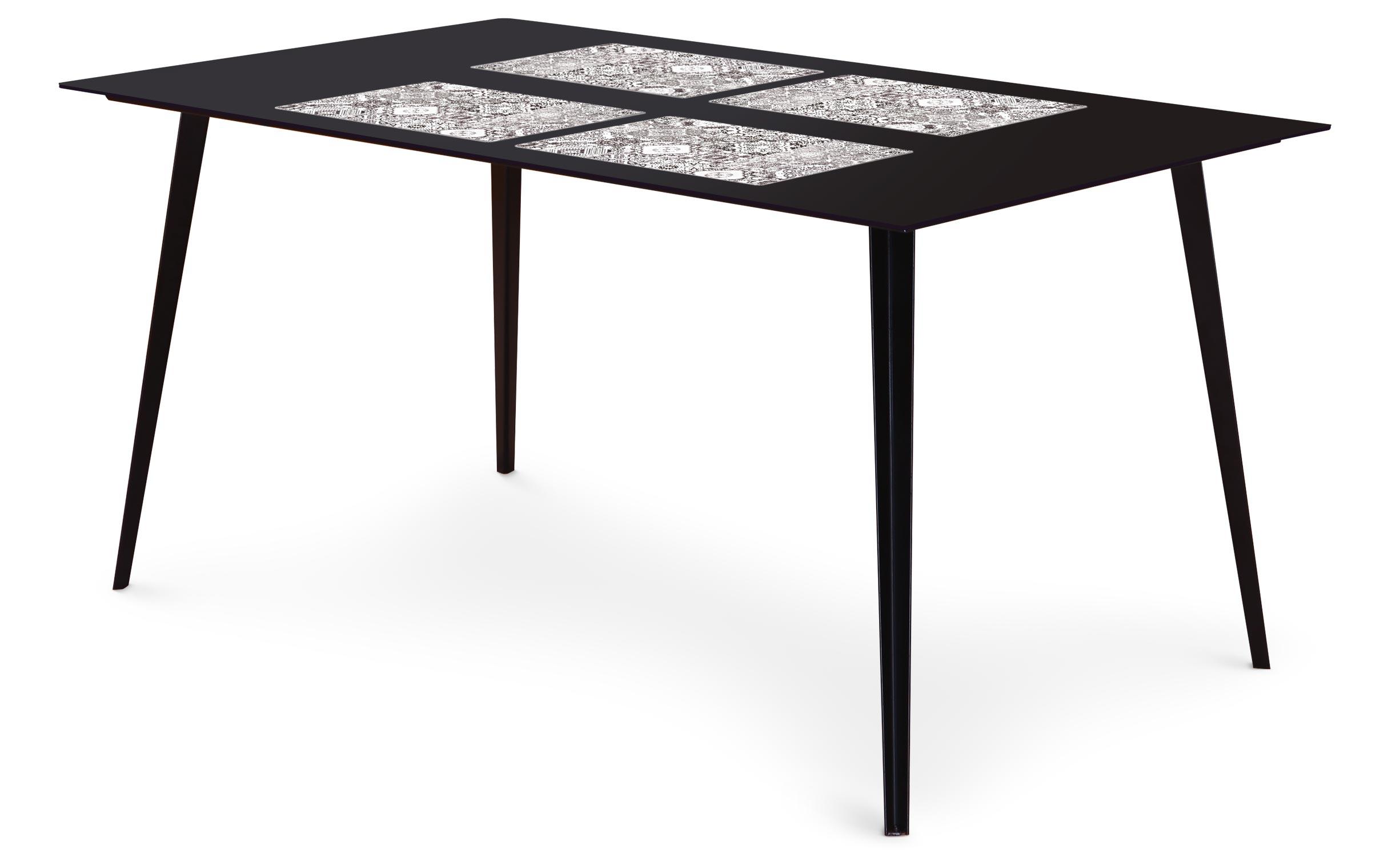 Table magnétique rectangulaire 150x90cm Bipolart Métal Noir avec 4 Sets de table Carreaux de ciment vintage