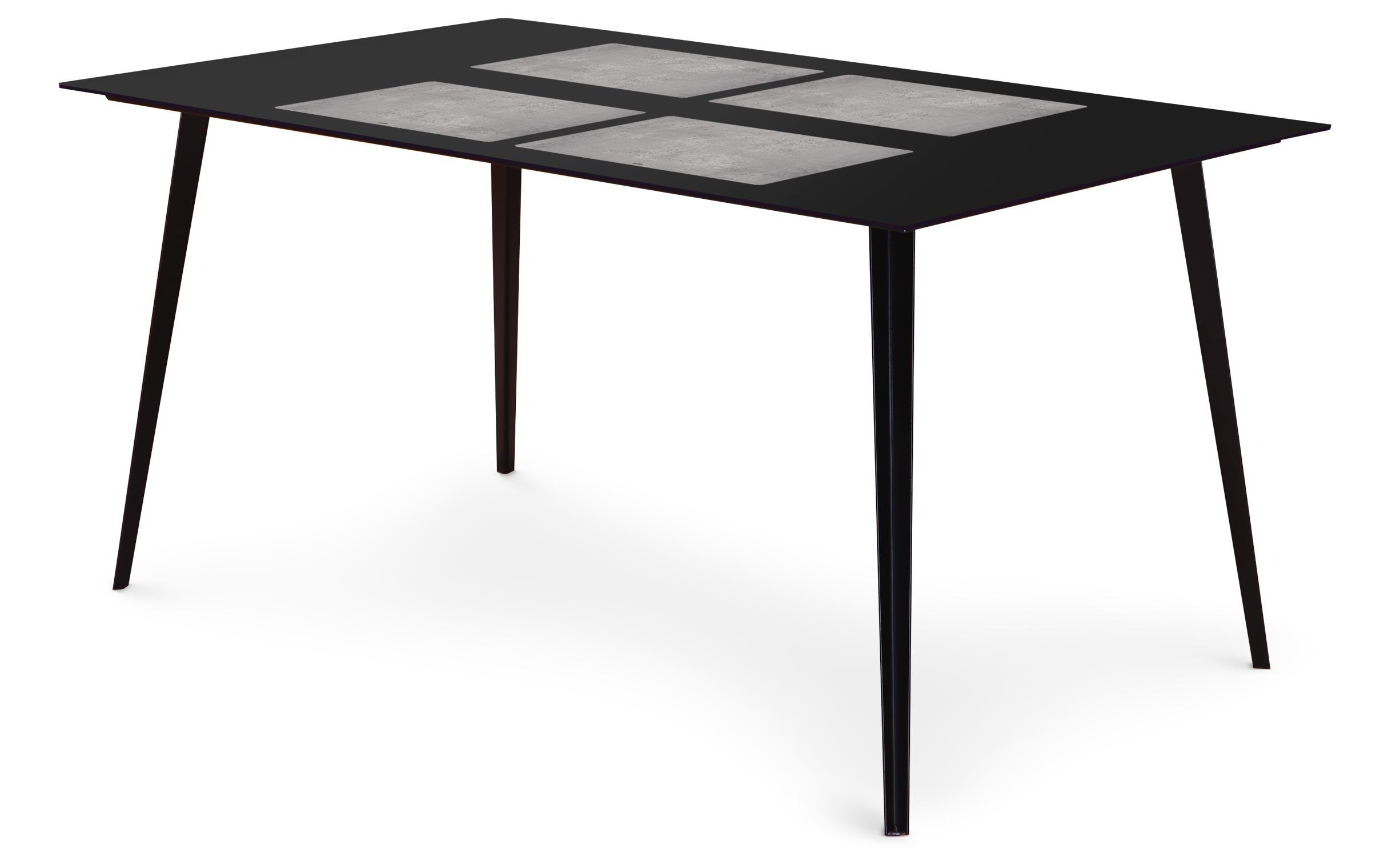 Table magnétique rectangulaire 150x90cm Bipolart Métal Noir avec 4 Sets de table Effet Béton