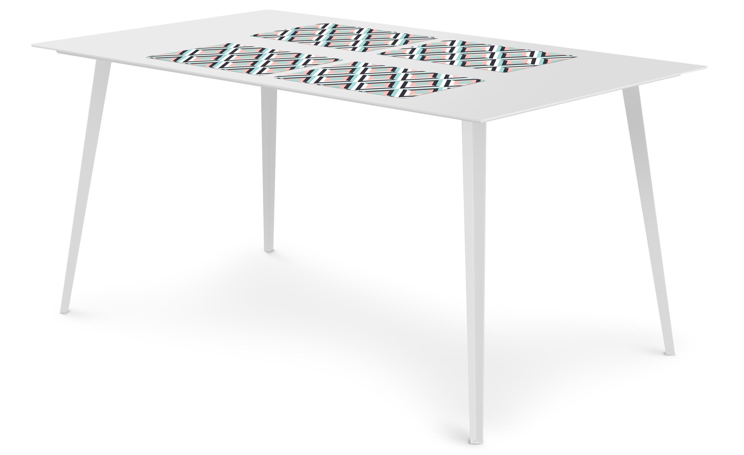 Table magnétique rectangulaire 150x90cm Bipolart Métal Blanc avec 4 Sets de table Losanges