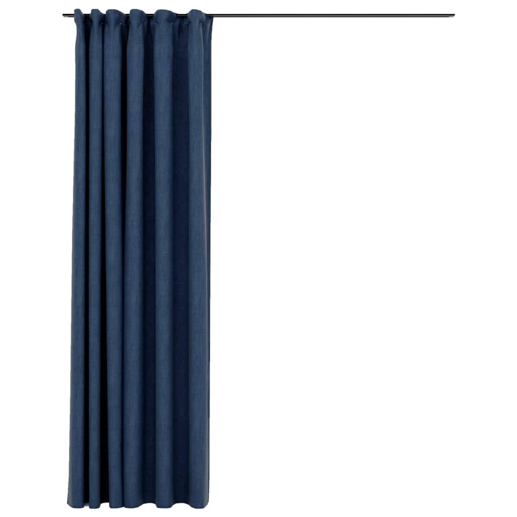 Rideau Blackout + Crochets 290x245cm Lin Bleu