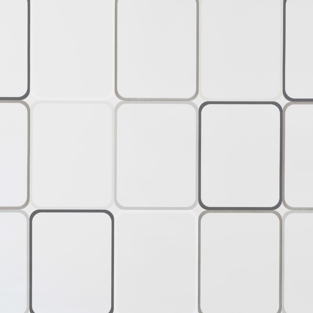 Rideau salle de bain Piloui 100x240cm Blanc Motif carré