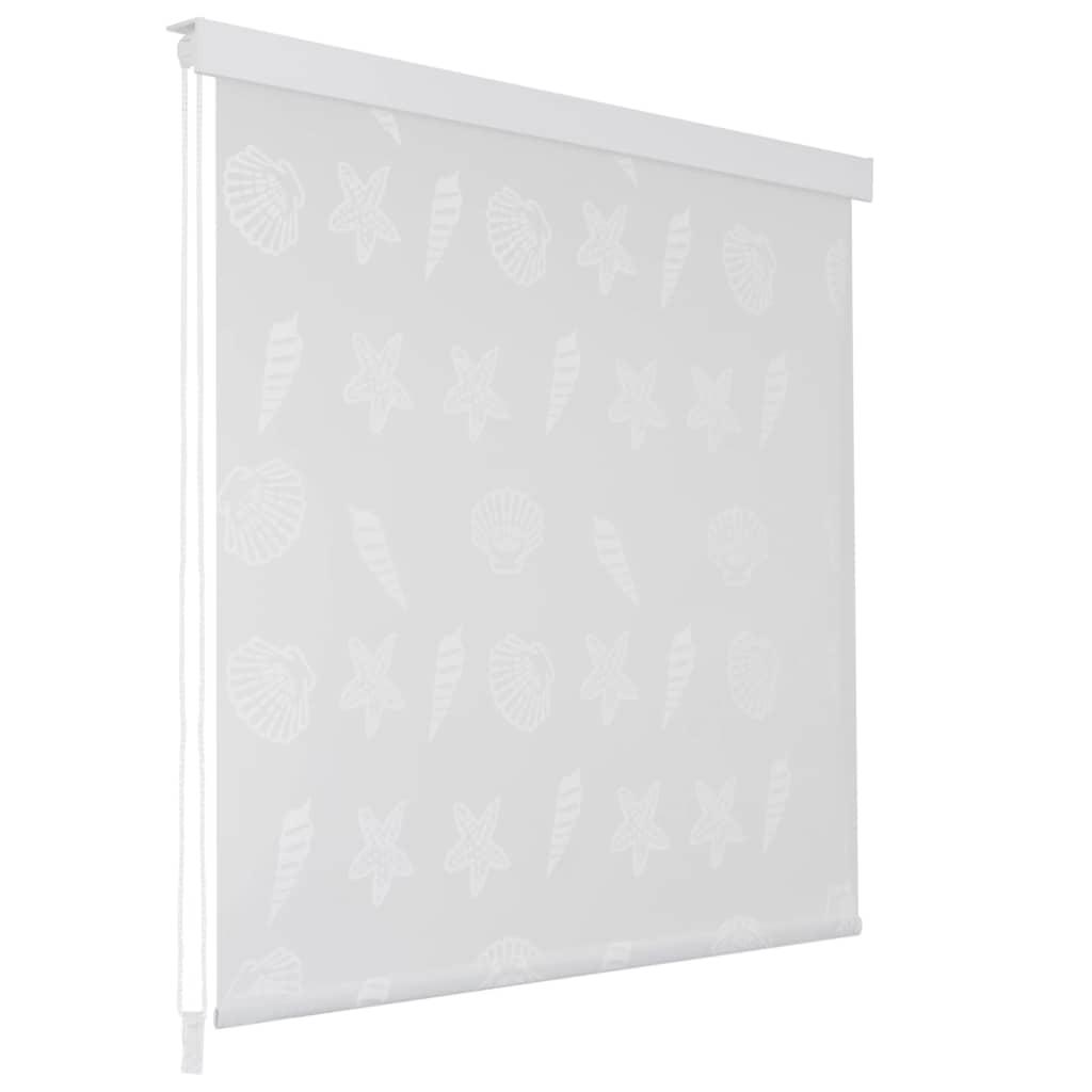Rideau salle de bain Piloui 100x240cm Blanc Motif étoile de mer