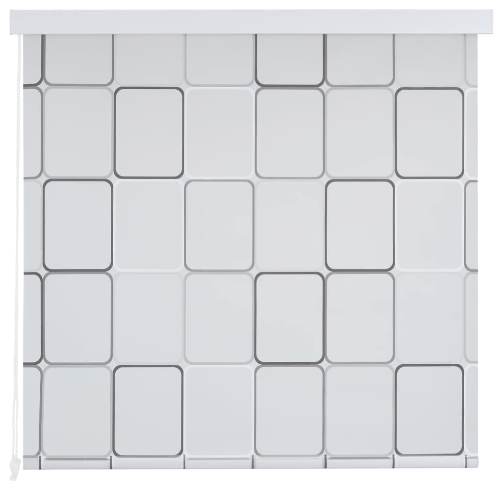 Rideau salle de bain Piloui 140x240cm Blanc Motif carré