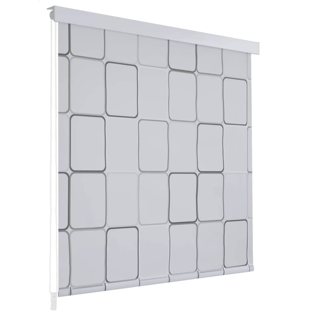 Rideau salle de bain Piloui 80x240cm Blanc Motif carré