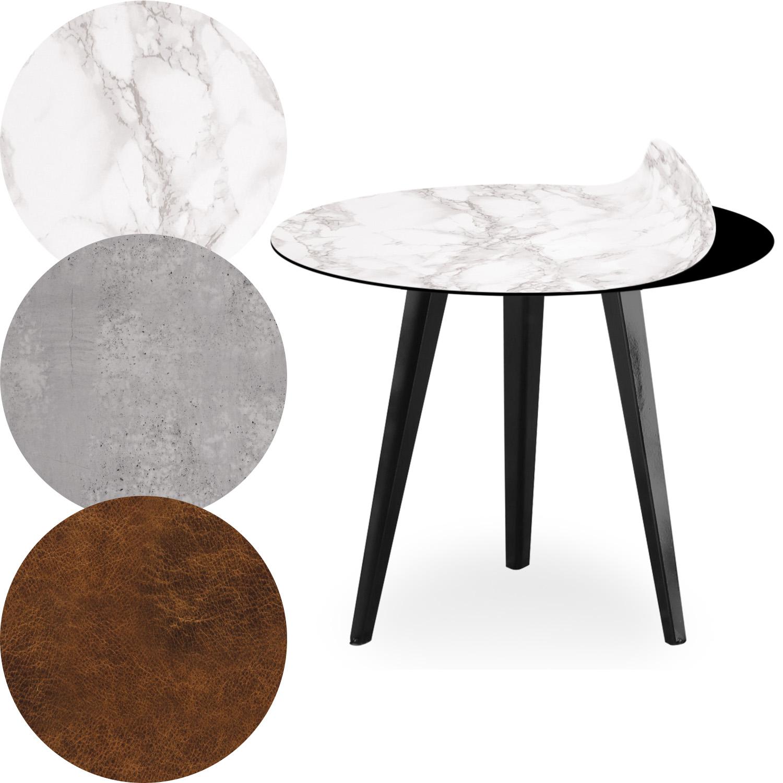 Table d'appoint magnétique ronde 45cm Bipolart Métal Noir avec 3 Tops style Textures