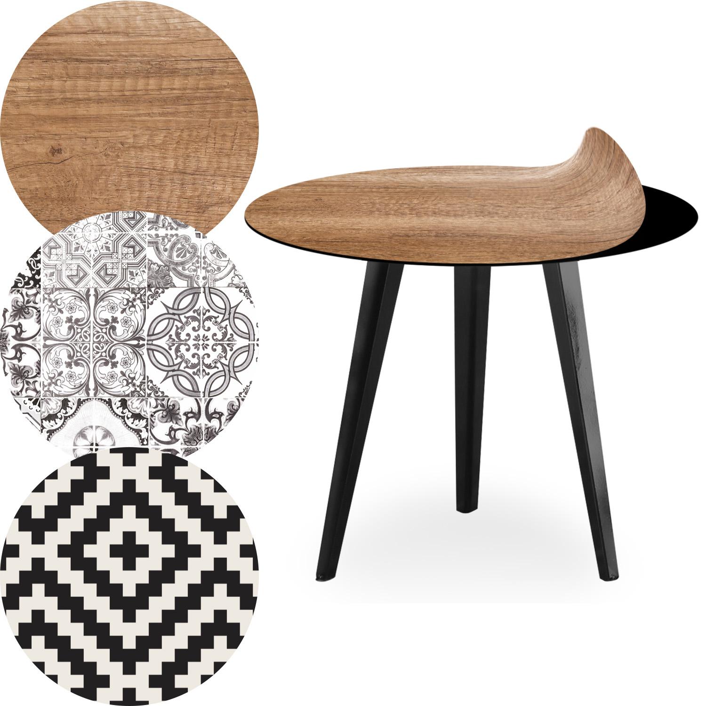 Table d'appoint magnétique ronde 45cm Bipolart Métal Noir avec 3 Tops style Natural