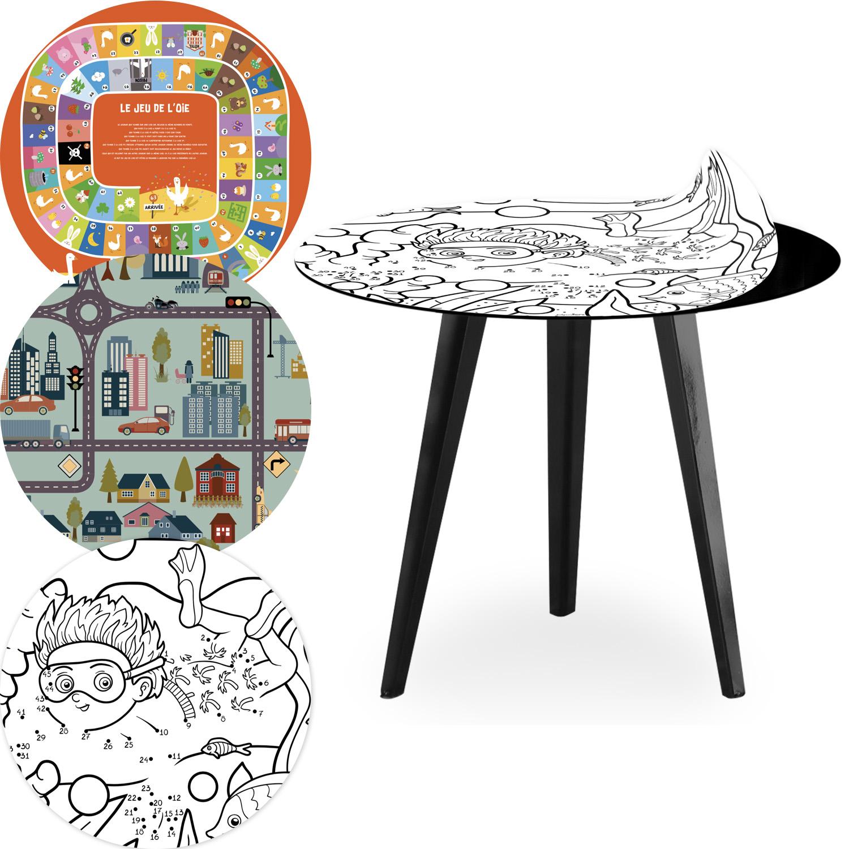 Table d'appoint magnétique ronde 45cm Bipolart Métal Noir avec 3 Tops style Kids