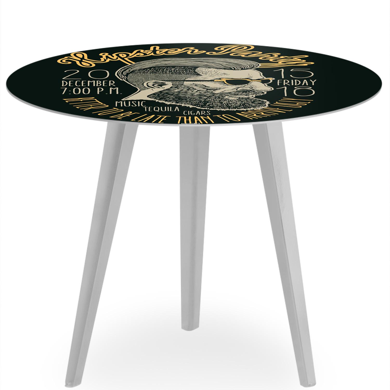 Table d'appoint magnétique ronde 45cm Bipolart Métal Argent avec 3 Tops style Fun