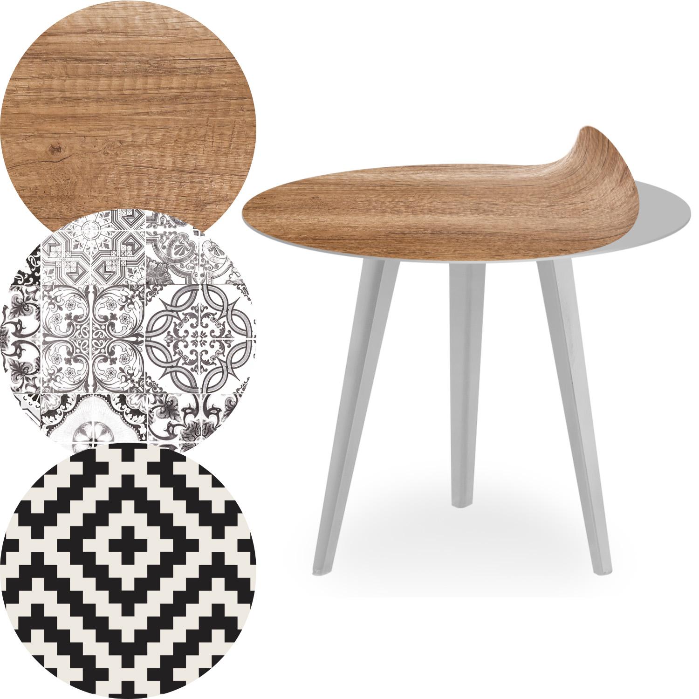 Table d'appoint magnétique ronde 45cm Bipolart Métal Argent avec 3 Tops style Natural