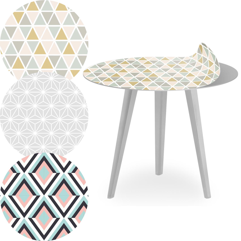 Table d'appoint magnétique ronde 45cm Bipolart Métal Argent avec 3 Tops style Scandinave