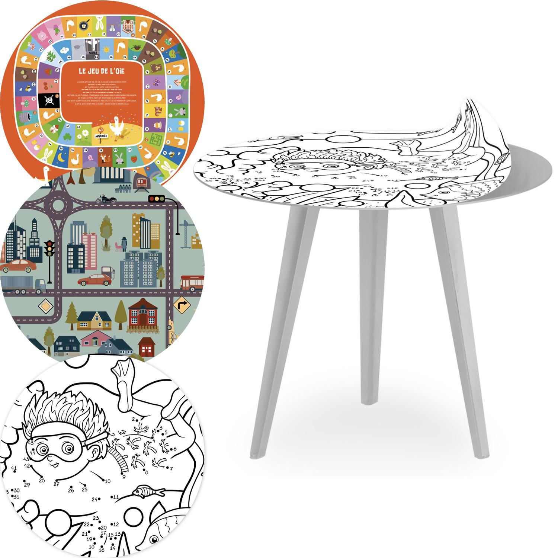 Table d'appoint magnétique ronde 45cm Bipolart Métal Argent avec 3 Tops style Kids