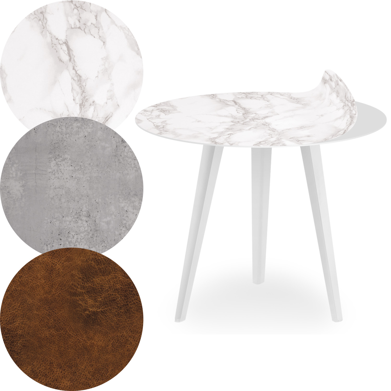Table d'appoint magnétique ronde 45cm Bipolart Métal Blanc avec 3 Tops style Textures