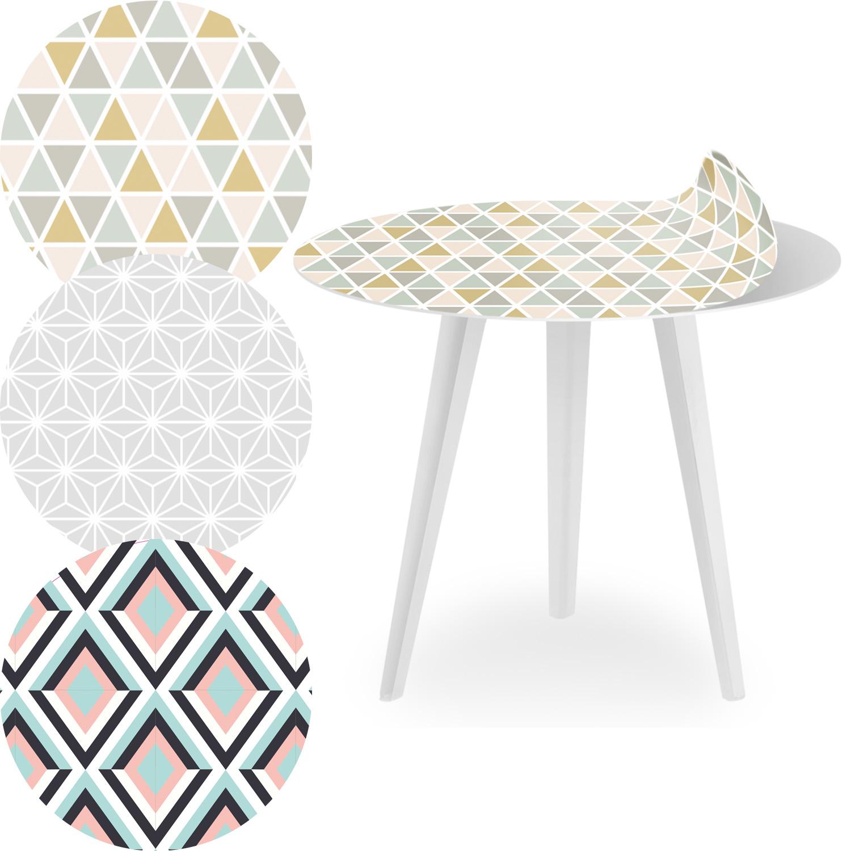 Table d'appoint magnétique ronde 45cm Bipolart Métal Blanc avec 3 Tops style Scandinave