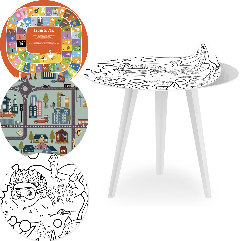 Table d'appoint magnétique ronde 45cm Bipolart Métal Blanc avec 3 Tops style Kids