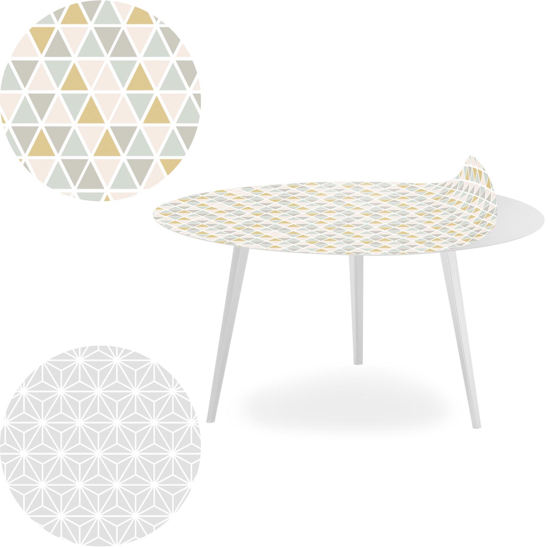 Table basse magnétique ronde 90cm Bipolart Métal Blanc avec 2 Tops style Scandinave