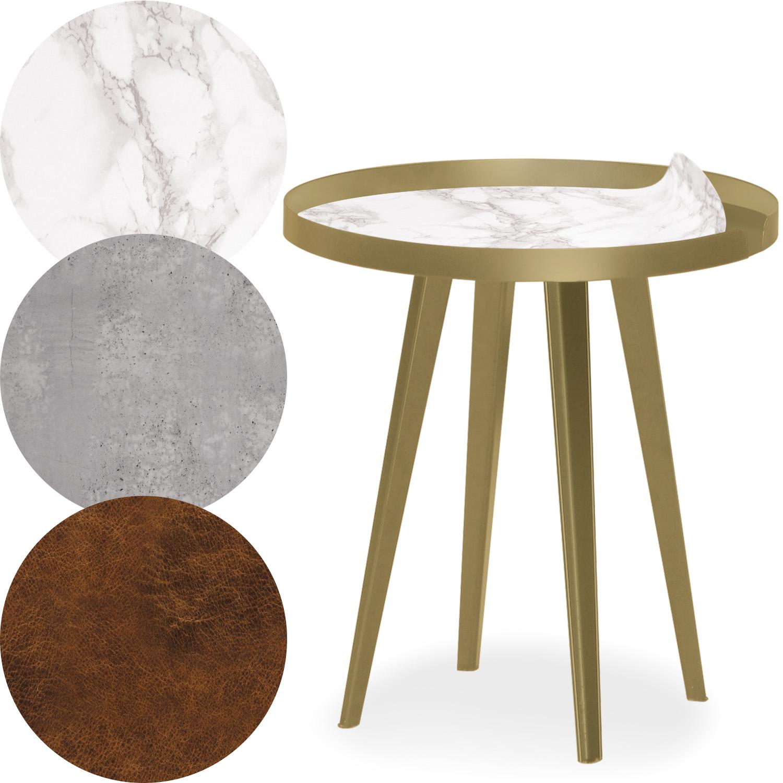 Table d'appoint magnétique ronde à rebord 45cm Bipolart Métal Or avec 3 Tops style Textures