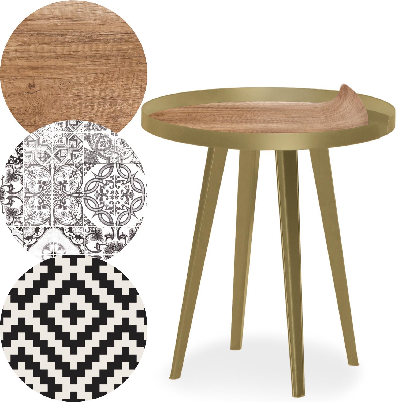 Table d'appoint magnétique ronde à rebord 45cm Bipolart Métal Or avec 3 Tops style Natural