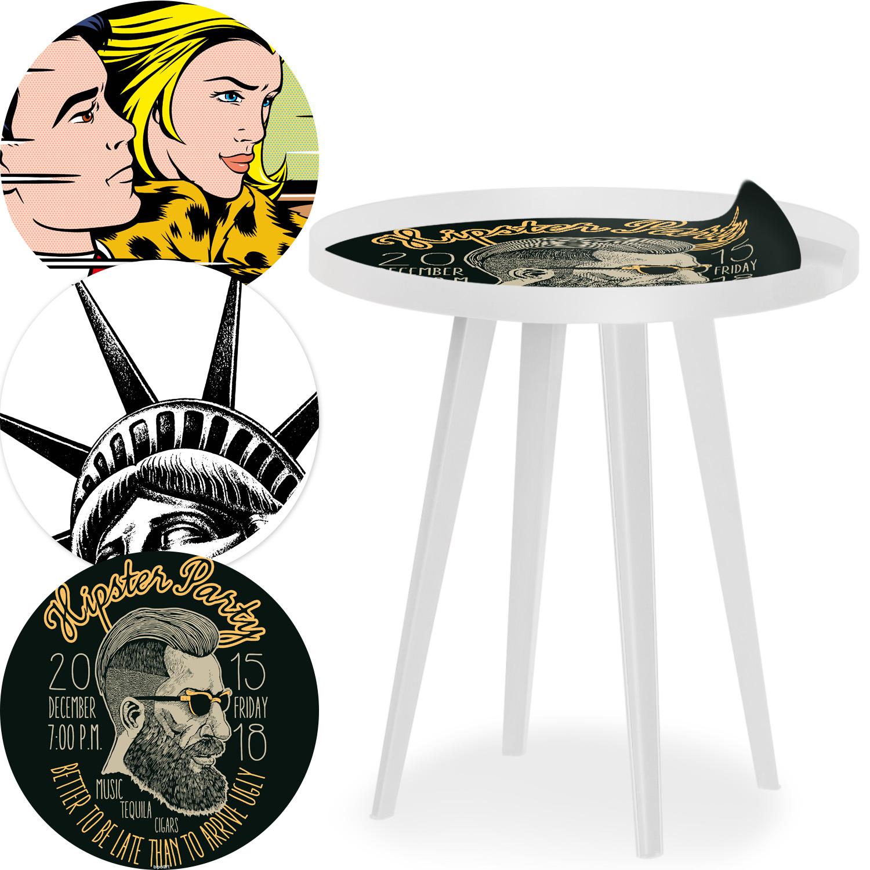 Table d'appoint magnétique ronde à rebord 45cm Bipolart Métal Blanc avec 3 Tops style Fun