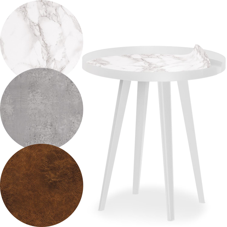 Table d'appoint magnétique ronde à rebord 45cm Bipolart Métal Blanc avec 3 Tops style Textures