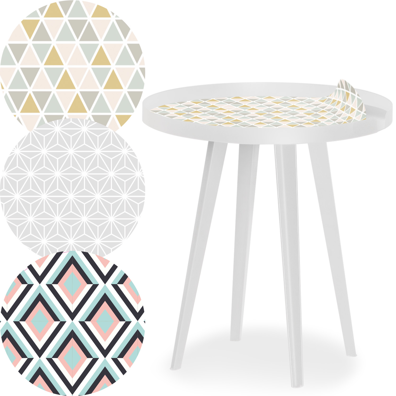 Table d'appoint magnétique ronde à rebord 45cm Bipolart Métal Blanc avec 3 Tops style Scandinave