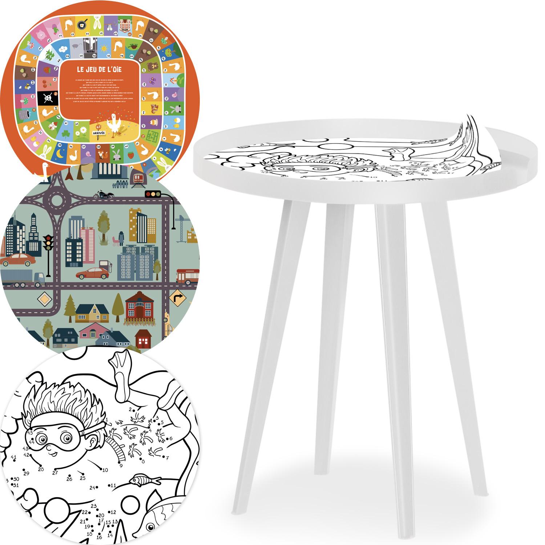 Table d'appoint magnétique ronde à rebord 45cm Bipolart Métal Blanc avec 3 Tops style Kid