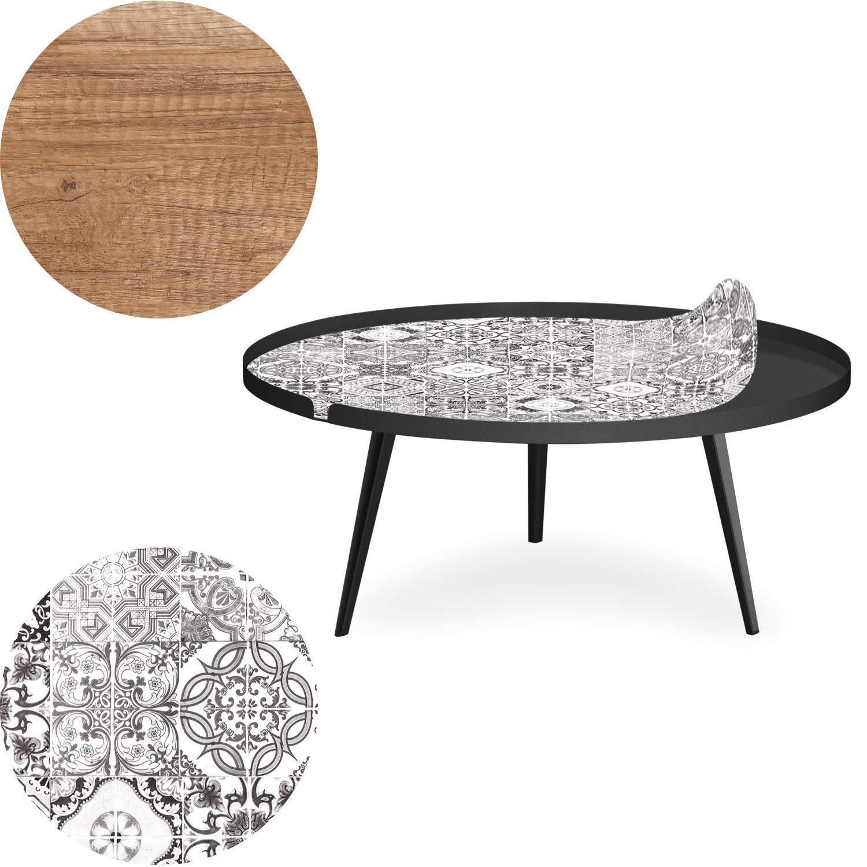 Table basse magnétique ronde à rebord 90cm Bipolart Métal Noir avec 2 Tops style Natural