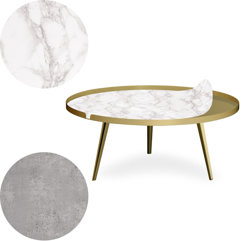 Table basse magnétique ronde à rebord 90cm Bipolart Métal Or avec 2 Tops style Textures