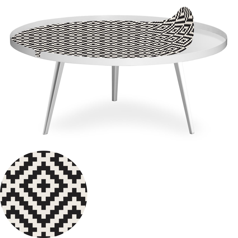 Table basse magnétique ronde à rebord 90cm Bipolart Métal Blanc avec 1 Top Motif Contraste