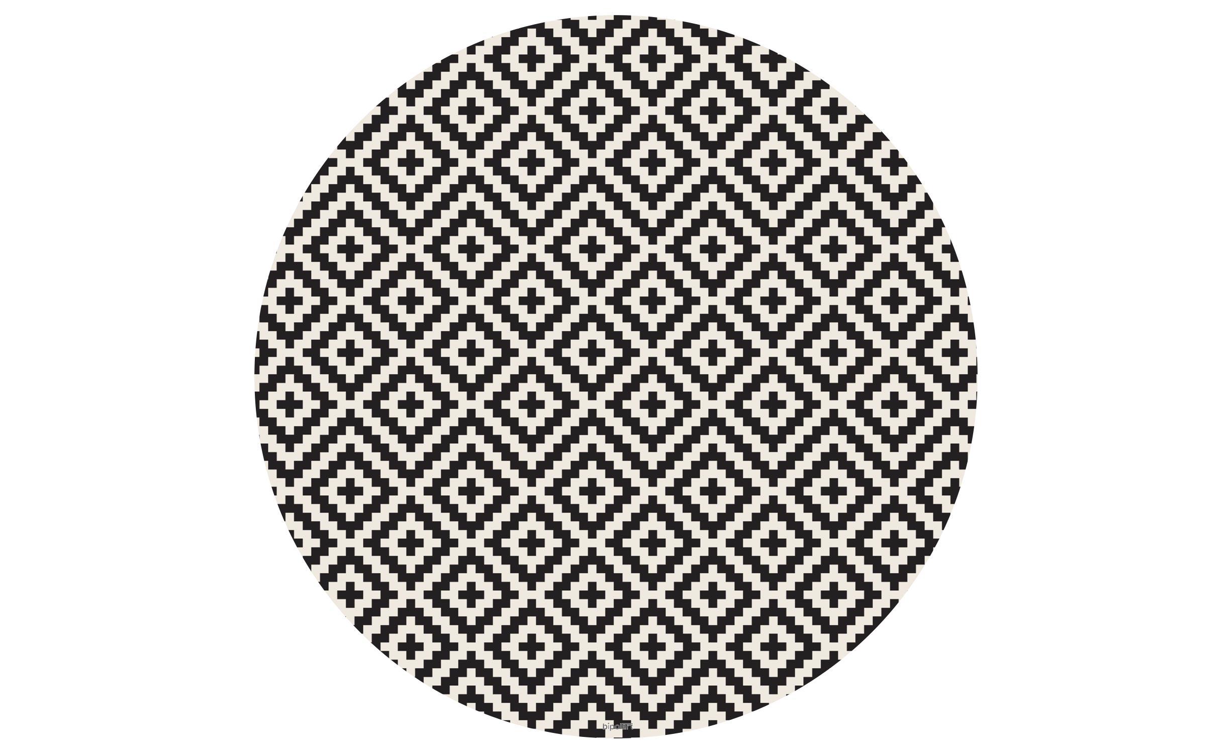 Table basse magnétique ronde 90cm Bipolart Métal Blanc avec 1 Top Motif Contraste