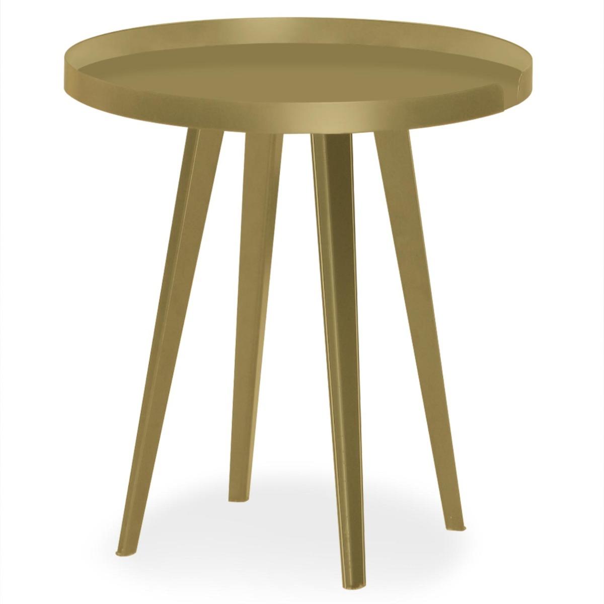Table d'appoint magnétique ronde à rebord 45cm Bipolart Métal Or